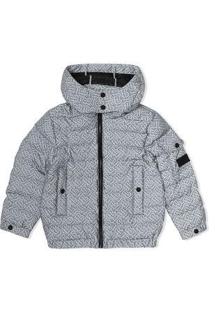 Burberry Boys Puffer Jackets - Monogram print hooded puffer jacket