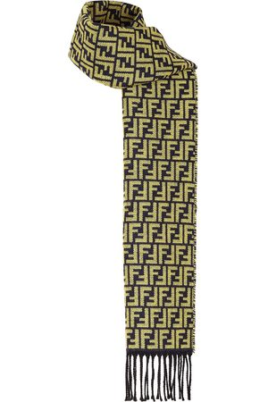 Fendi Men Scarves - FF pattern fringed scarf