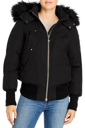 Moose Knuckles Women Bomber Jackets - Debbie Hooded Fur Trim Bomber Coat
