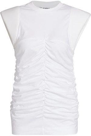 Ganni Women's Basic Cotton Jersey Cap-Sleeve Top - - Size Large