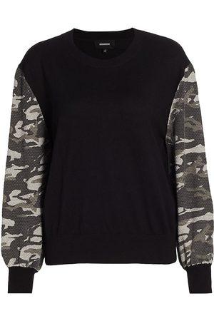 MONROW Women's Camo Contrast-Sleeve Sweatshirt - - Size XS