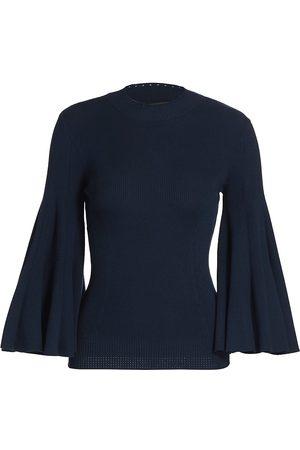 Oscar de la Renta Women's Flared Sleeve Knit Top - - Size Small