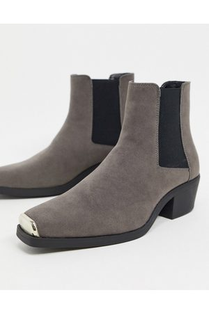 ASOS Cuban heel western chelsea boot in faux suede with square toe with metal cap-Grey