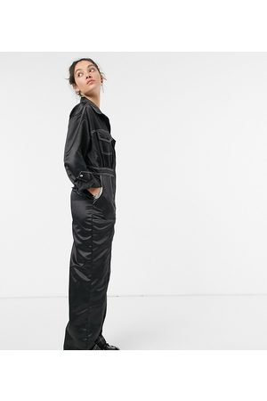 COLLUSION Satin jumpsuit with contrast stitch in