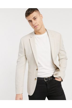 ASOS Skinny soft tailored blazer in stone seersucker check