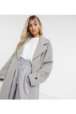 COLLUSION Longline brushed faux wool overcoat in light -Grey