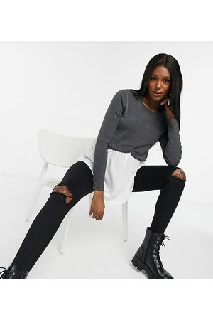 New Look 2-in-1 sweater with undershirt detail in -Grey