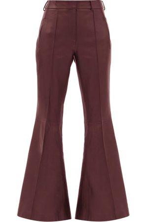 Khaite Charles Kick-flared Leather Trousers - Womens - Burgundy