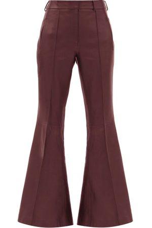Khaite Women Leather Pants - Charles Kick-flared Leather Trousers - Womens - Burgundy