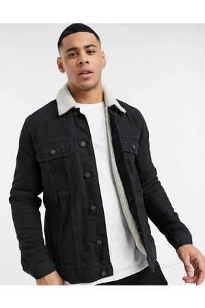 ASOS Denim jacket with ecru shearling lining in