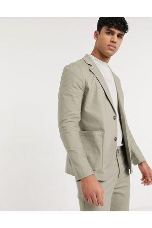 ASOS Skinny soft tailoredcotton blazer with square pockets in khaki