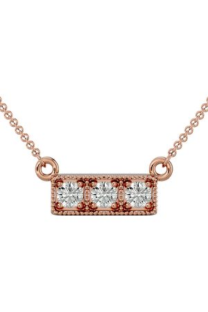 SuperJeweler 1/4 Carat Moissanite Three Stone Necklace in 14K (2.50 g)