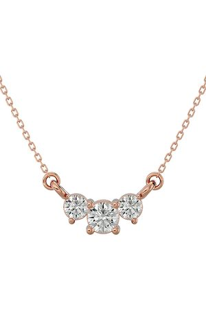 SuperJeweler 1/4 Carat Diamond Three Stone Necklace in 14K (1.50 g)