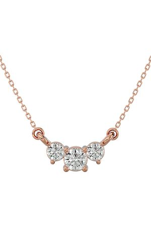 SuperJeweler 1/2 Carat Moissanite Three Stone Necklace in 14K (1.75 g)