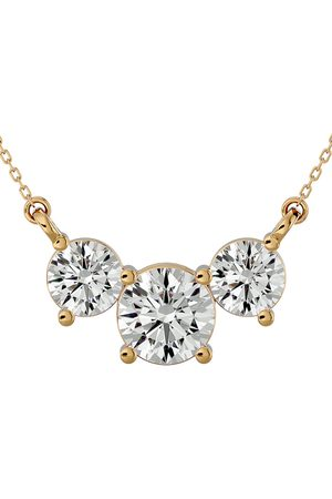 SuperJeweler 1 3/4 Carat Moissanite Three Stone Necklace in 14K (2.75 g)
