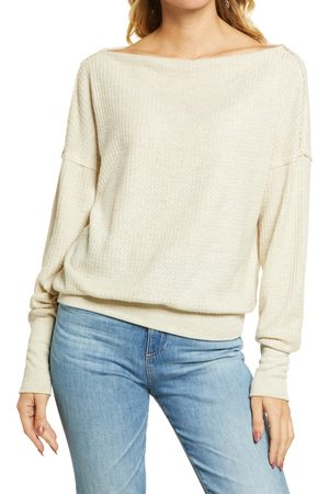 Treasure & Bond Women's Off The Shoulder Thermal Knit Sweater