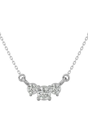 SuperJeweler 1/4 Carat Moissanite Three Stone Necklace in 14K (1.50 g)