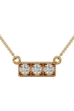 SuperJeweler 1/4 Carat Diamond Three Stone Necklace in 14K (2.50 g)