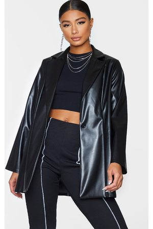PRETTYLITTLETHING Longline Lapel Detail Faux Leather Blazer