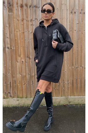 PRETTYLITTLETHING Lack Oversized Pocket Front Hoodie Sweater Dress