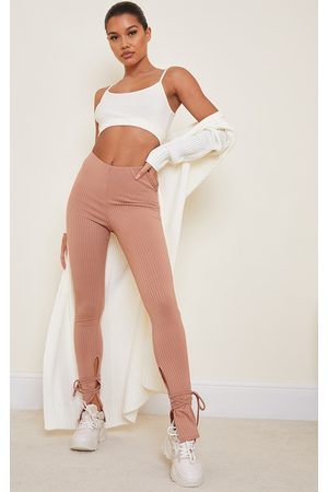 PRETTYLITTLETHING Camel Rib Split Tie Ankle Leggings