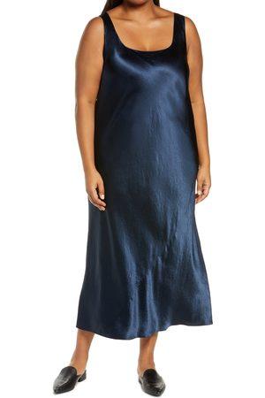 Vince Plus Size Women's Square Neck Satin Tank Dress