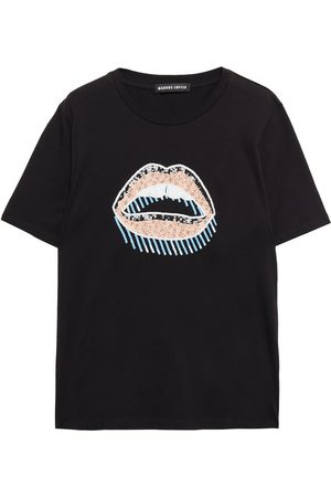 Markus Lupfer Woman Crystal And Sequin-embellished Cotton-jersey T-shirt Size L