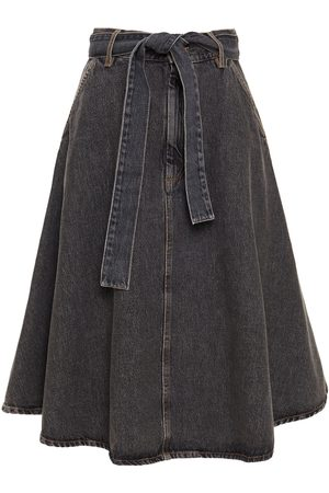 American Vintage Woman Belted Denim Skirt Charcoal Size L