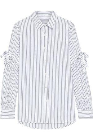 Stateside Woman Bow-detailed Pinstriped Cotton-poplin Shirt Size L