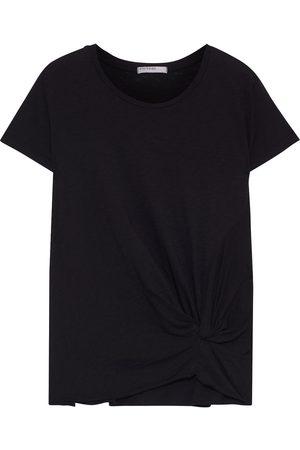 Stateside Woman Twist-front Slub Supima Cotton-jersey T-shirt Size L