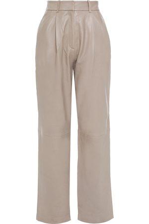 Walter Baker Woman Leather Straight-leg Pants Sand Size 0