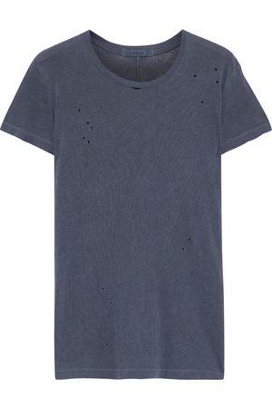 Stateside Woman Distressed Slub Supima Cotton-jersey T-shirt Charcoal Size L