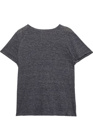 ENZA COSTA Woman Striped Cotton-jersey T-shirt Anthracite Size L