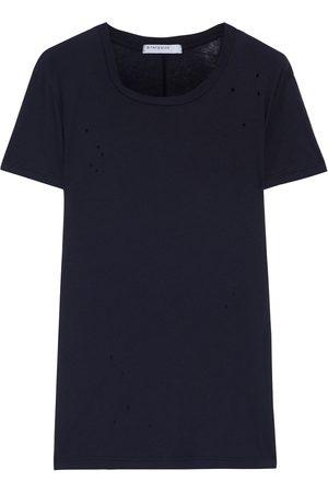 Stateside Woman Distressed Slub Supima Cotton-jersey T-shirt Size L