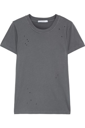 Stateside Woman Distressed Cotton-jersey T-shirt Anthracite Size L