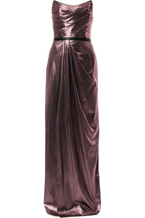 Marchesa Notte Metalzied strapless gown