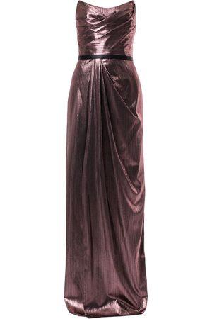Marchesa Notte Women Strapless Dresses - Metalzied strapless gown