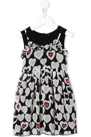 Emporio Armani Girls Printed Dresses - Heart print flared dress