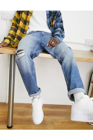 ASOS Straight crop jeans in vintage mid wash with knee abrasions