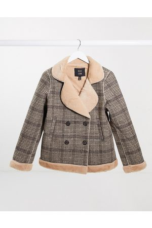 QED London Fur lined plaid jacket-Multi