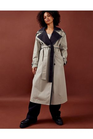 Topshop Double layer trench coat in khaki