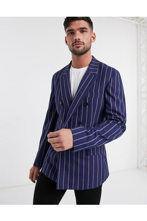 ASOS Slim soft tailored double breasted blazer in navy stripe