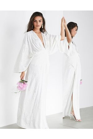 ASOS Luna embroidered satin kimono wedding dress