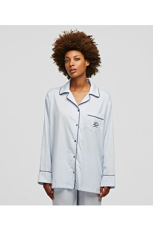 Karl Lagerfeld Women Long sleeves - LONG-SLEEVED PIPING-TRIMMED PAJAMA SHIRT