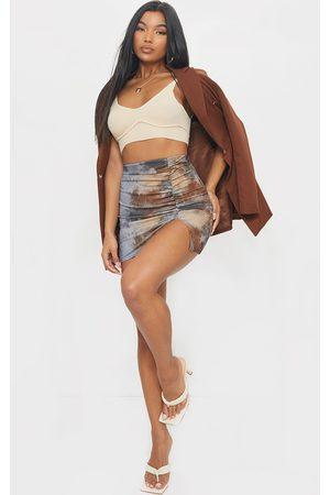 PRETTYLITTLETHING Tie Dye Rib Ruched Mini Skirt