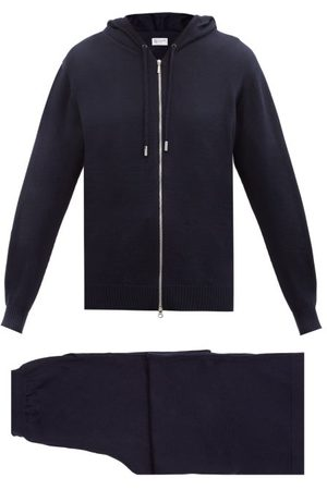 Johnstons Of Elgin Women Sweatpants - Wool Hooded Sweater And Track Pants - Womens - Navy