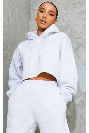 PRETTYLITTLETHING Grey Ultimate Oversized Crop Hoodie