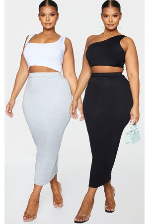 PRETTYLITTLETHING Plus 2 Pack Basic Black & Grey Jersey Midaxi Skirt