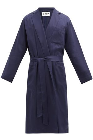 CDLP Peak-lapel Piped Lyocell-twill Robe - Mens - Navy