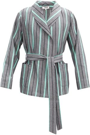 P. Le Moult Belted Striped Cotton Bathrobe - Mens - Multi